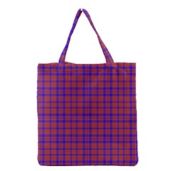 Pattern Plaid Geometric Red Blue Grocery Tote Bag by Simbadda