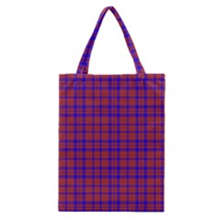 Pattern Plaid Geometric Red Blue Classic Tote Bag by Simbadda