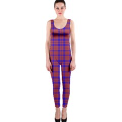 Pattern Plaid Geometric Red Blue Onepiece Catsuit by Simbadda