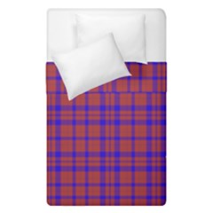 Pattern Plaid Geometric Red Blue Duvet Cover Double Side (single Size)