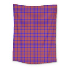 Pattern Plaid Geometric Red Blue Medium Tapestry by Simbadda