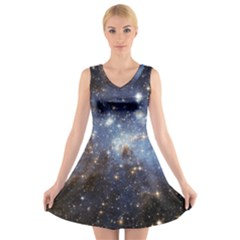 Large Magellanic Cloud V-neck Sleeveless Skater Dress by SpaceShop
