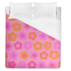 Pink Floral Pattern Duvet Cover (queen Size) by Valentinaart