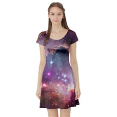 Small Magellanic Cloud Short Sleeve Skater Dress by SpaceShop