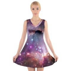 Small Magellanic Cloud V-neck Sleeveless Skater Dress by SpaceShop