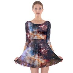 Celestial Fireworks Long Sleeve Skater Dress by SpaceShop