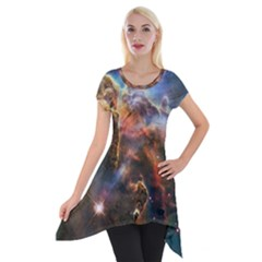 Pillar And Jets Short Sleeve Side Drop Tunic by SpaceShop