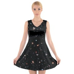 Extreme Deep Field V-neck Sleeveless Skater Dress by SpaceShop