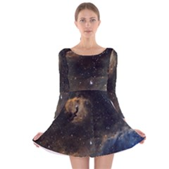 Seagull Nebula Long Sleeve Velvet Skater Dress by SpaceShop