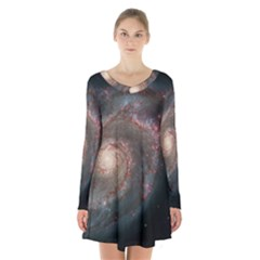Whirlpool Galaxy And Companion Long Sleeve Velvet V Neck Dress by SpaceShop
