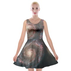 Whirlpool Galaxy And Companion Velvet Skater Dress by SpaceShop