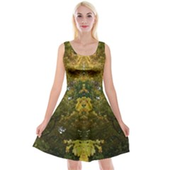 Autumn Op Art Tree With Kitten Reversible Velvet Sleeveless Dress