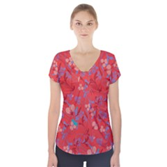 Floral Pattern Short Sleeve Front Detail Top by Valentinaart