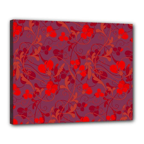 Red Floral Pattern Canvas 20  X 16  by Valentinaart