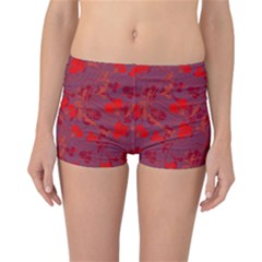 Red Floral Pattern Reversible Bikini Bottoms by Valentinaart