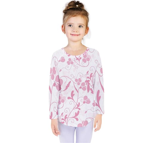 Floral Pattern Kids  Long Sleeve Tee by Valentinaart