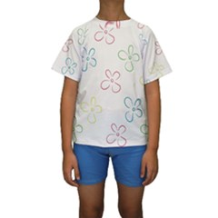 Flower Background Nature Floral Kids  Short Sleeve Swimwear by Simbadda