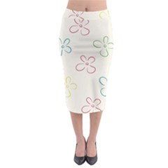 Flower Background Nature Floral Midi Pencil Skirt