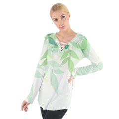 Spring Leaves Nature Light Women s Tie Up Tee by Simbadda