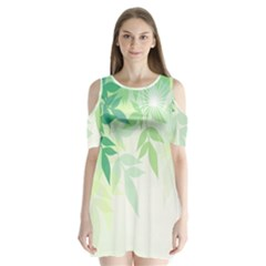 Spring Leaves Nature Light Shoulder Cutout Velvet  One Piece by Simbadda