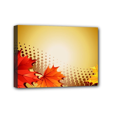 Background Leaves Dry Leaf Nature Mini Canvas 7  X 5  by Simbadda