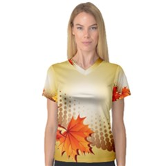 Background Leaves Dry Leaf Nature Women s V Neck Sport Mesh Tee by Simbadda