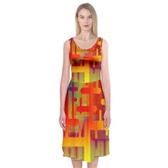 Binary Binary Code Binary System Midi Sleeveless Dress by Simbadda