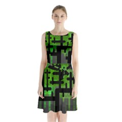 Binary Binary Code Binary System Sleeveless Chiffon Waist Tie Dress by Simbadda