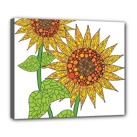 Sunflowers Flower Bloom Nature Deluxe Canvas 24  X 20   by Simbadda