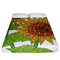 Sunflowers Flower Bloom Nature Fitted Sheet (king Size) by Simbadda
