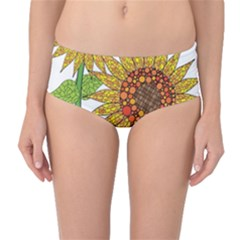 Sunflowers Flower Bloom Nature Mid-waist Bikini Bottoms by Simbadda