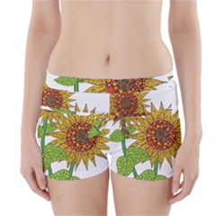 Sunflowers Flower Bloom Nature Boyleg Bikini Wrap Bottoms by Simbadda
