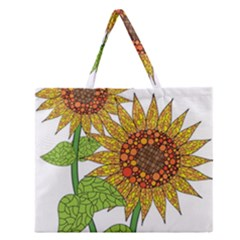 Sunflowers Flower Bloom Nature Zipper Large Tote Bag by Simbadda
