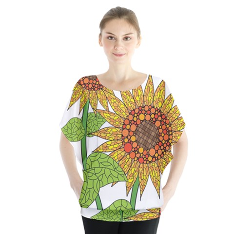 Sunflowers Flower Bloom Nature Blouse by Simbadda