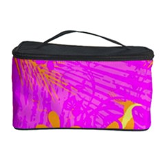 Spring Tropical Floral Palm Bird Cosmetic Storage Case by Simbadda