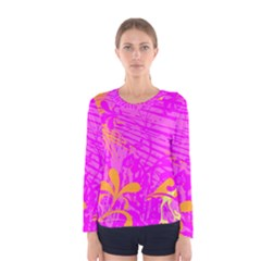 Spring Tropical Floral Palm Bird Women s Long Sleeve Tee