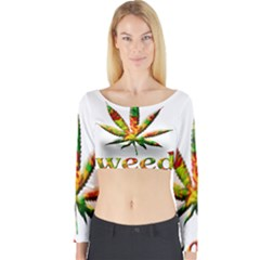 Marijuana Leaf Bright Graphic Long Sleeve Crop Top