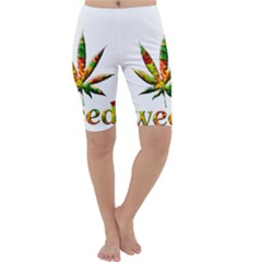 Marijuana Leaf Bright Graphic Cropped Leggings  by Simbadda