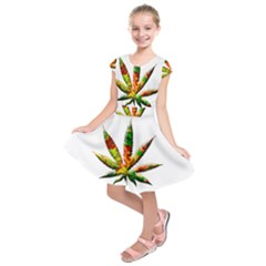 Marijuana Leaf Bright Graphic Kids  Short Sleeve Dress by Simbadda