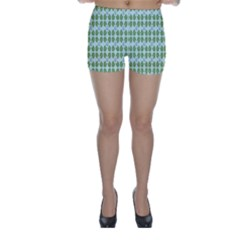 Leaf Flower Floral Green Skinny Shorts by Alisyart