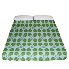 Leaf Flower Floral Green Fitted Sheet (queen Size) by Alisyart