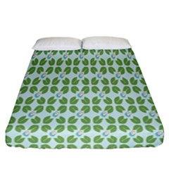 Leaf Flower Floral Green Fitted Sheet (california King Size) by Alisyart