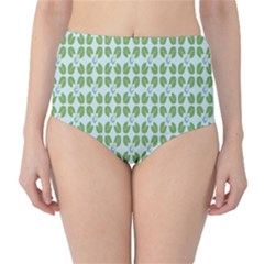 Leaf Flower Floral Green High-waist Bikini Bottoms by Alisyart