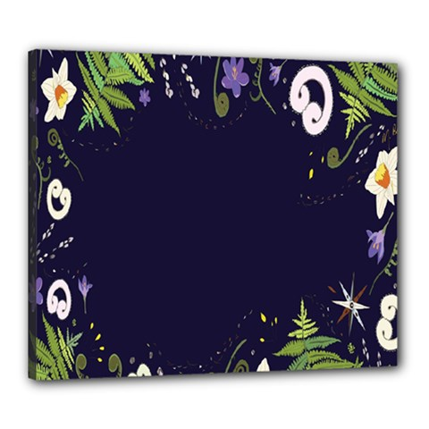 Spring Wind Flower Floral Leaf Star Purple Green Frame Canvas 24  X 20  by Alisyart