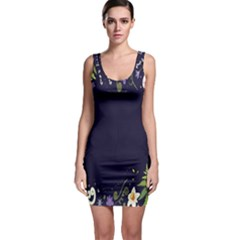 Spring Wind Flower Floral Leaf Star Purple Green Frame Sleeveless Bodycon Dress