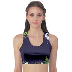 Spring Wind Flower Floral Leaf Star Purple Green Frame Sports Bra by Alisyart