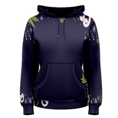 Spring Wind Flower Floral Leaf Star Purple Green Frame Women s Pullover Hoodie