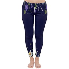 Spring Wind Flower Floral Leaf Star Purple Green Frame Classic Winter Leggings
