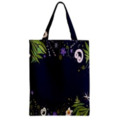Spring Wind Flower Floral Leaf Star Purple Green Frame Zipper Classic Tote Bag by Alisyart