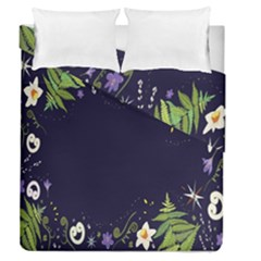 Spring Wind Flower Floral Leaf Star Purple Green Frame Duvet Cover Double Side (queen Size) by Alisyart